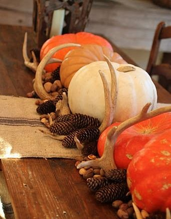 Pumpkin and antler table decor.  Would also be pretty on our mantel :)