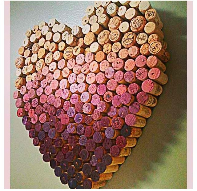 Ombré wine cork heart