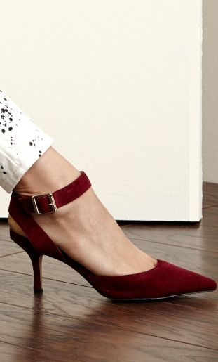 white + black spattered jean with deep red heels
