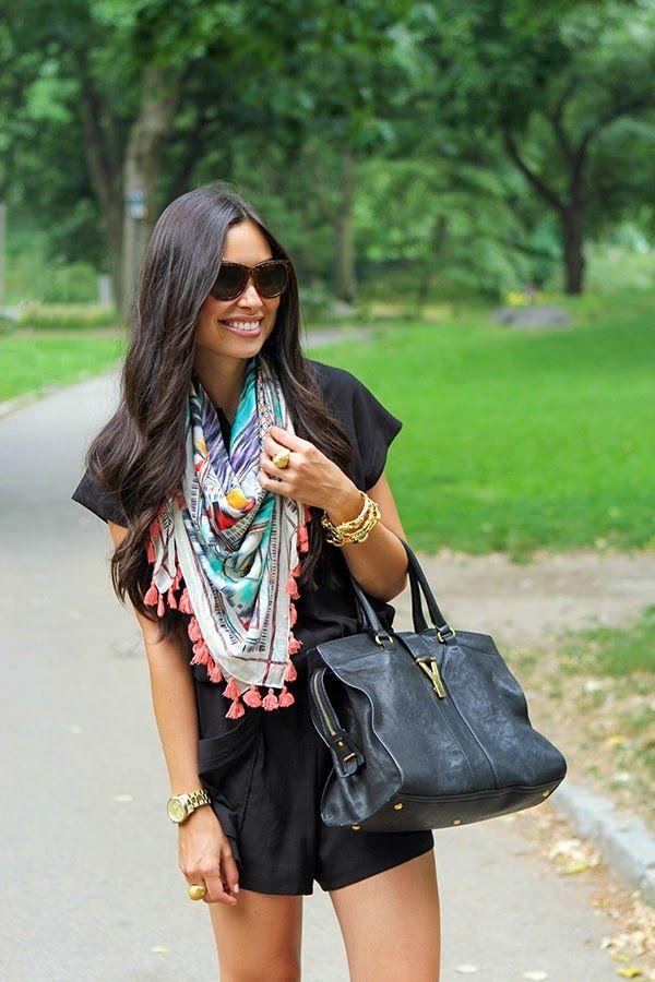 Black romper, fun scarf... must copy!