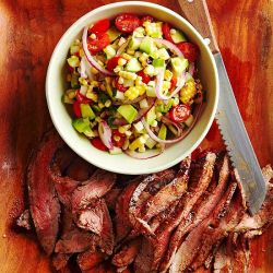 Chile Flank Steak with Grilled-Corn Pico de Gallo from bhg.com