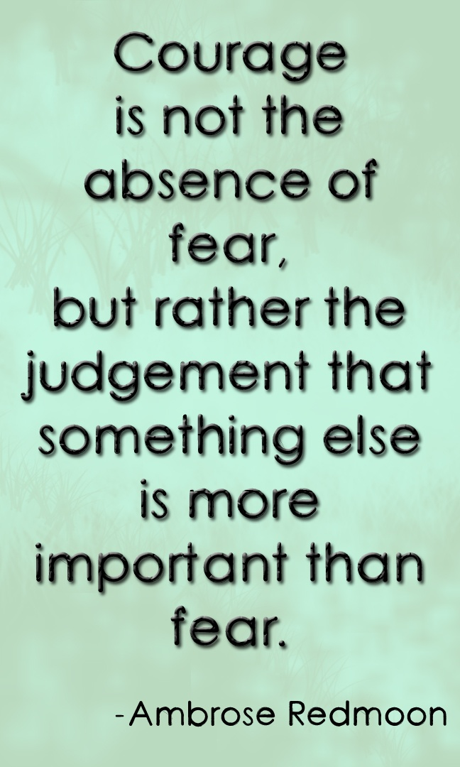 """""""Courage is not the absence of fear, but rather the judgement that something else is more important than fear."""" ~Ambrose Redmoon"""