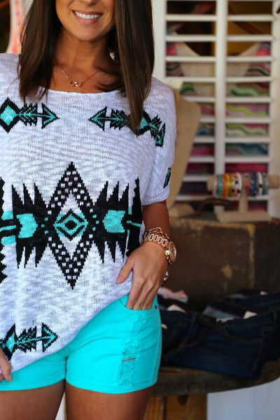 Aztec Lightweight Knit Top + Turquoise Shorts