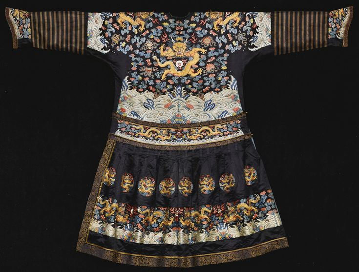 A RARE EMBROIDERED FORMAL DRAGON ROBE (CHAOPAO)<br>QING DYNASTY, MID 19TH CENTURY | Lot | Sotheby's