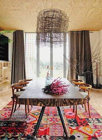 Eclectic rug in the dining room
