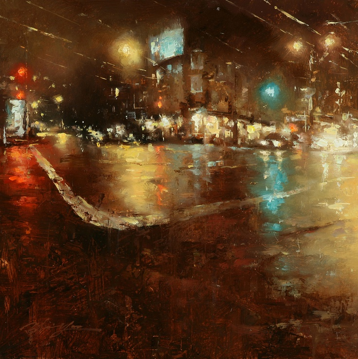rainy night painting