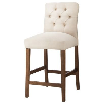 "Threshold™ 24"" Brookline Tufted Counter Stool;  Target for 95 each; comes in white, icy blue, and characoal"