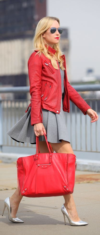 Red leather over grey