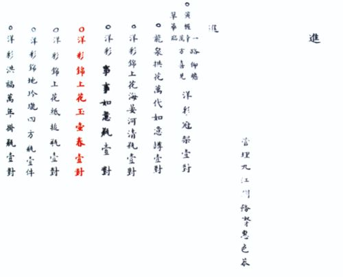 Delivery record of a pair of yangcai sgraffiato yuhuchun vases,Qing dynasty, Qianlong period, dated to 1751 After: Qing gong ciqi dang'an quanji [The complete collection of Qing dynasty imperial palace records for porcelain], vol. 3, Beijing, 2008, p. 388