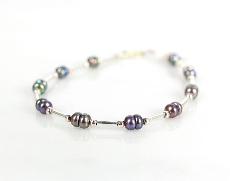 Peacock pearl and sterling silver bracelet