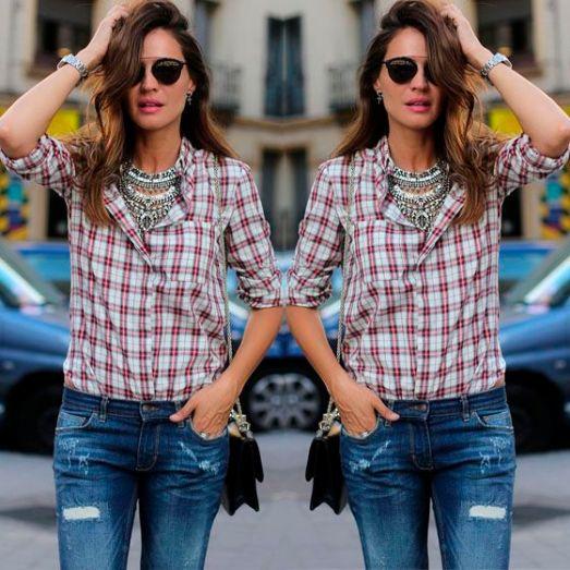 Xadrez com Maxi Colar #xadrez #accessories #jeans