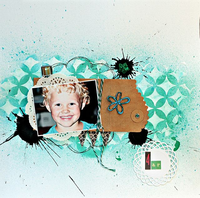 No patterned paper, mist, mask, #scrapbooking