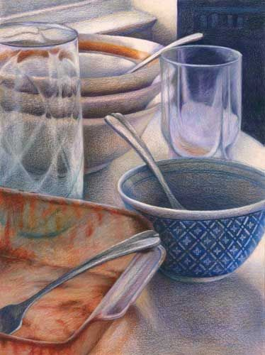 Domestic Abstraction - colored pencil drawings and paintings - Jo Bradney
