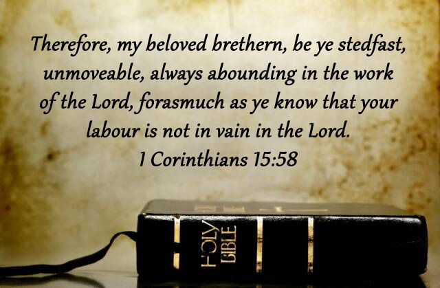 Image result for 1 CORINTHIANS 15:58