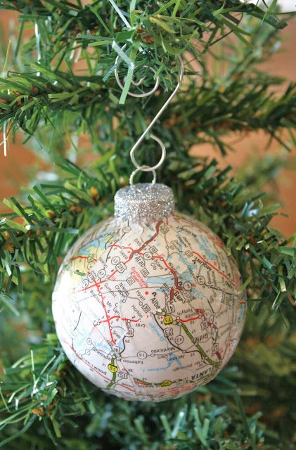 Map Ball Ornaments -- YES!!-- went on a fun trip? Print a map and put it on the ornament with the date and year on the bottom for your friends or family