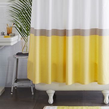Horizon Stripe Shower Curtain - Citron #westelm