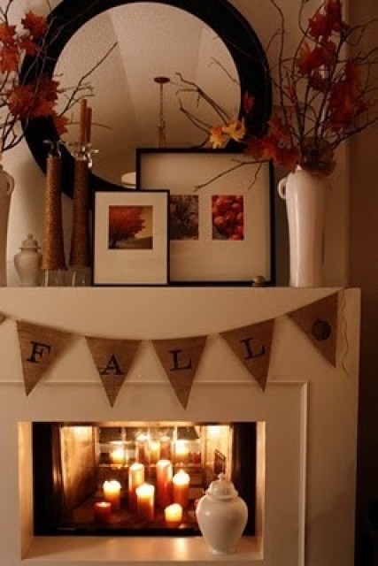 I love these warm colors and the candles in the fireplace. Good idea for something different