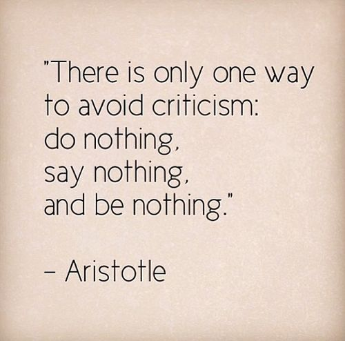 There is only one way to avoid criticism: do nothing, say nothing, and be nothing ~ Aristotle