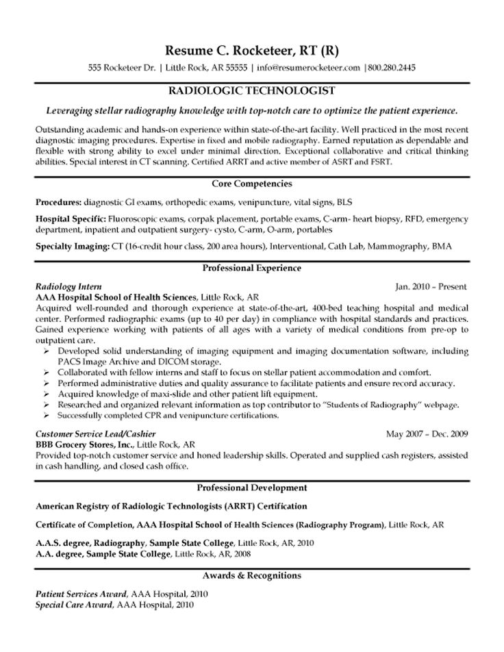 cover letter example for radiologic technologist - Template