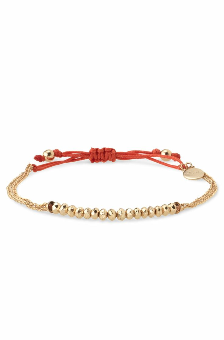 Gold Nylon Cord Bracelet With Gold Plated Beads | Love Bracelet | Stella & Dot