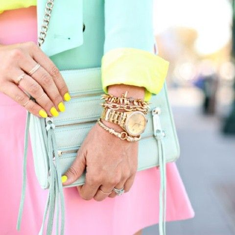 Pastel perfection...watches and stacked bracelets work perfectly among the sugar colours.