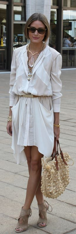 Olivia Palermo: Necklace – Lulu Frost  Sunglasses – Ray Ban  Shirt and skirt – BCBG  Shoes – Aquazzura  Purse – Gerard Deral