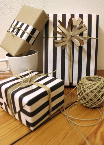 Love the black and white.  Hate the string and paper bag color.  It needs some glam, maybe some sparkles & gold!!