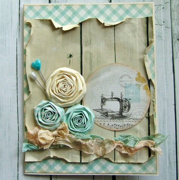 I like the contrast of the wood look paper with the feminine components of the card