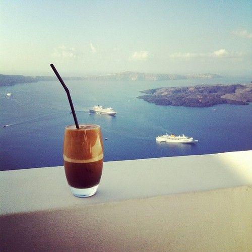 Cafe frappe - Santorini Greece