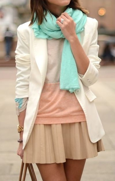 Colorblock taupe/peach top, ivory blazer, nude pleated skater skirt, aqua scarf, chevron rings