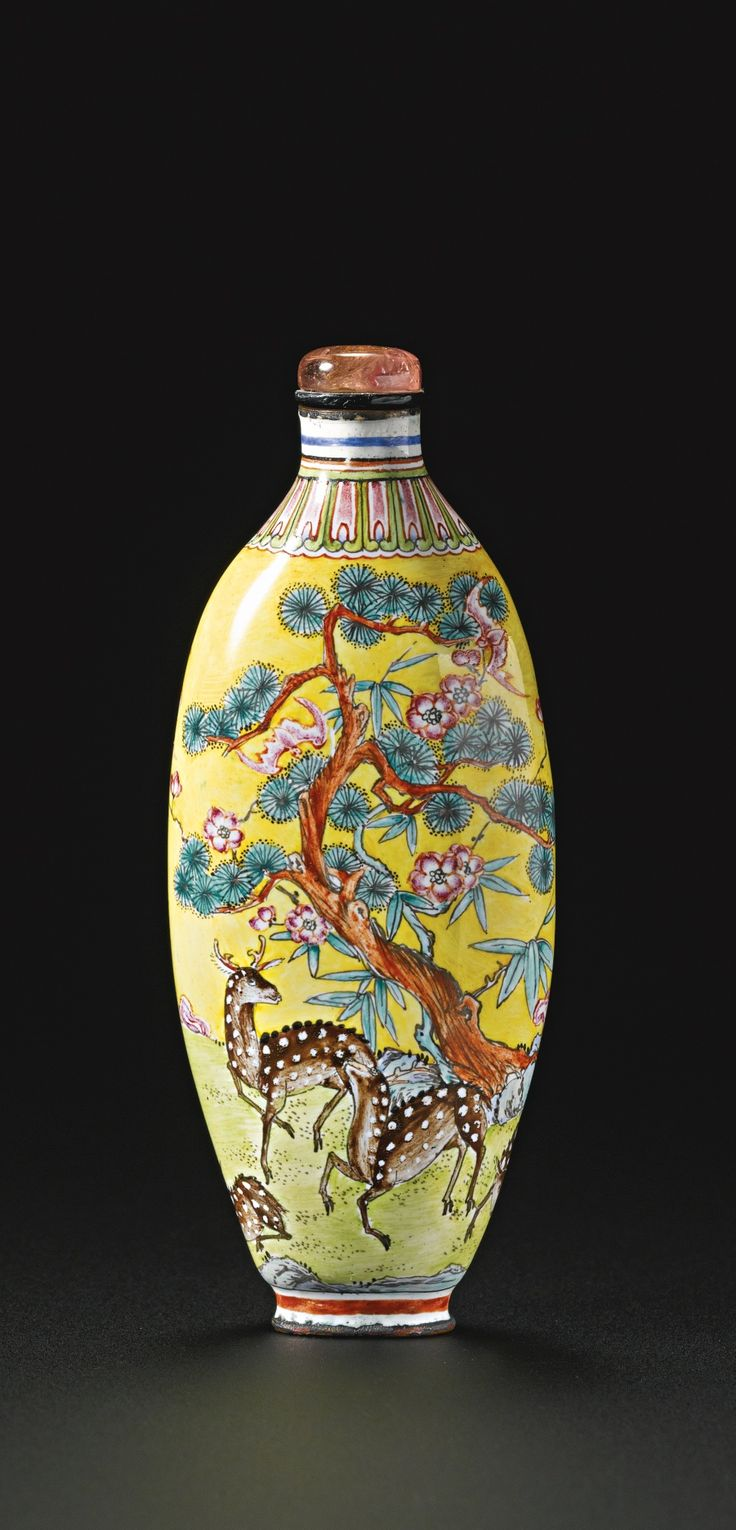 An Imperial Canton enamel 'Longevity and Good Fortune' snuff bottle, Qianlong mark and period