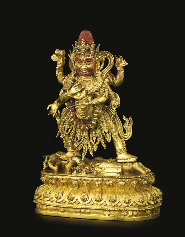 Agilt-bronze figure of Mahakala, China, Ming dynasty, 16th century
