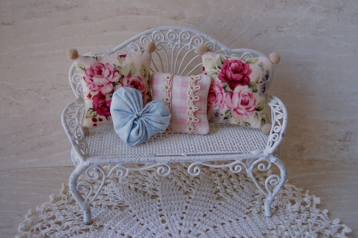 OoaK dollhouse MINIATURE cottage CHIC Pink Rose Pillows. $16.00, via Etsy.