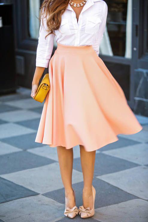 Asos Peach Scuba Full Midi Pockets Skirt