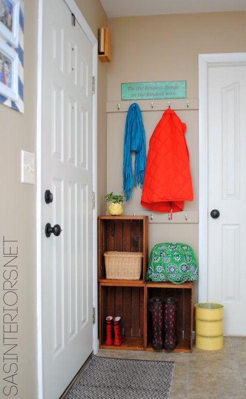 Easy Entry Upgrade with DIY built-in coat hooks and wooden crates via @Jenna_Burger, www.sasinteriors.net