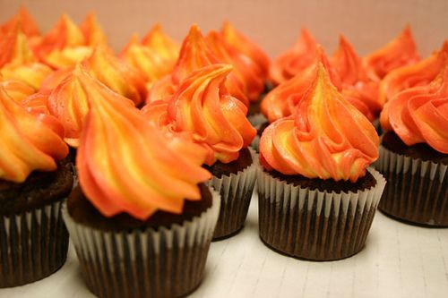 "Need this trick for making my ""warm sun"" cupcakes to mimic the watercolor effect from the book"