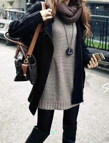 Sweaters + leggings. Winter layering.