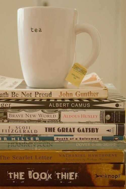 mug of tea and books