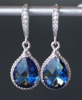Sapphire Blue Crystal Teardrop Earrings in by CJRoseBoutique, $38.00