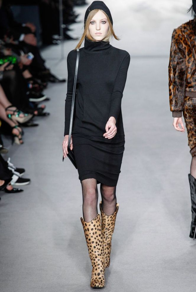 leopard print boots, fishnet stockings, black long sleeve turtleneck dress