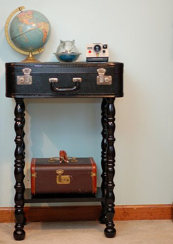 Just discovered my mother's old suitcase in my basement. Love the legs on this stand - the search begins.