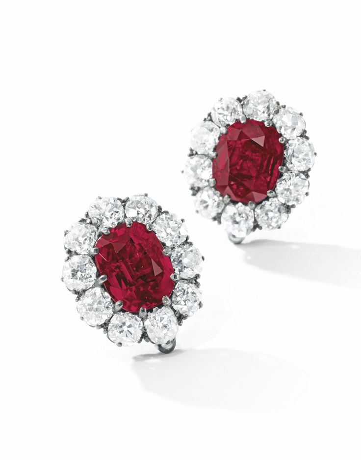 Very Fine Pair of Ruby and Diamond Earrings, Late 19th Century | Lot | Sotheby's