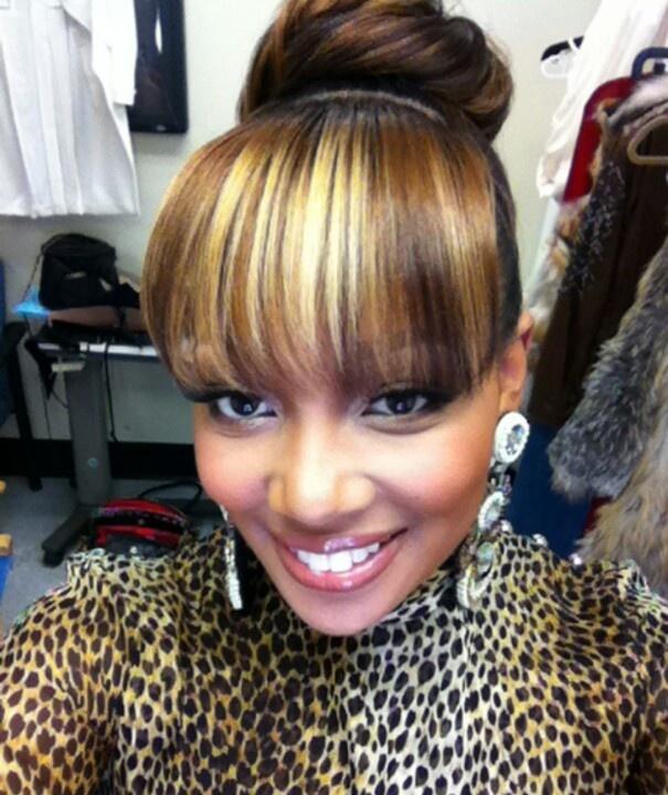 Black Bun Hairstyles With Bangs