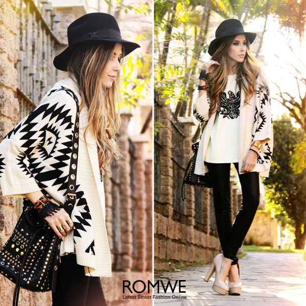ROMWE Tribal Geometric Cropped Sleeves Apricot Cardigan