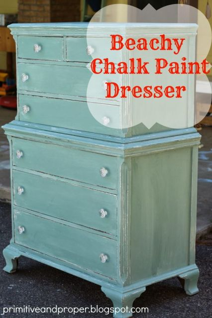Primitive & Proper: Beachy Blue Chest duck egg chalk paint crystal knobs