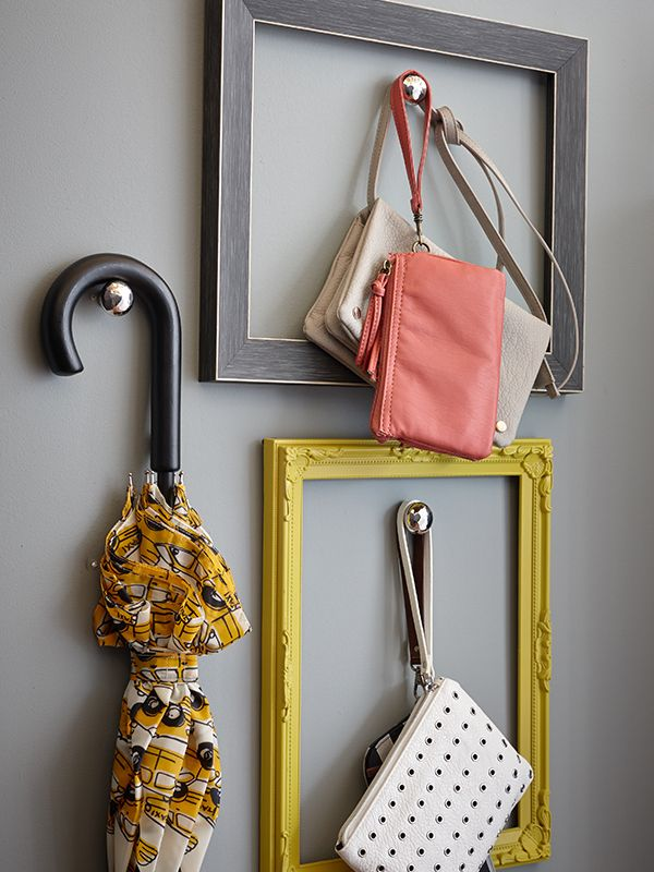 Use picture frames and polished drawer knobs to hang light items that you use often.