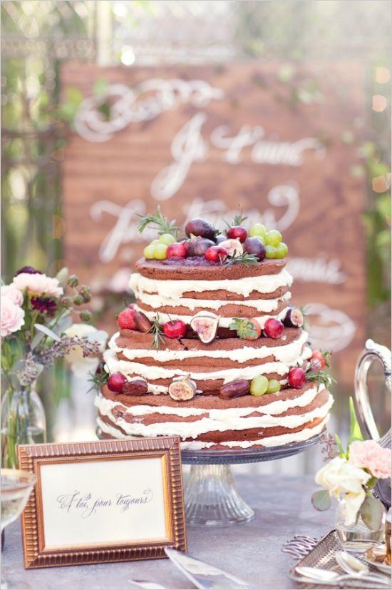 Naked wedding cake from Whole Foods