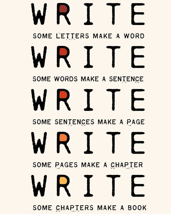 Write Write Write Art Print To Motivate Your Writing For Novelists Writers Authors Nanowrimo Participants. $18.00, via Etsy.
