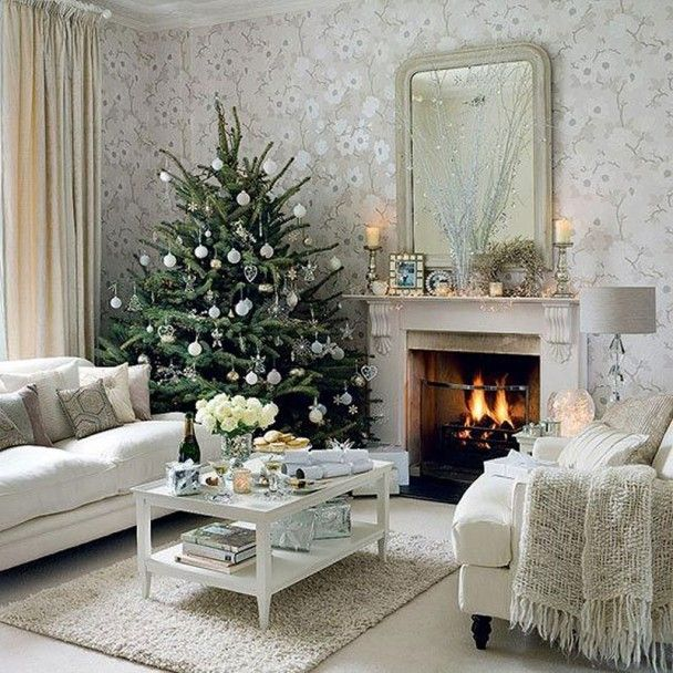 Modern White Christmas Lounge from Elite Home Decoration. #laylagrayce #holiday