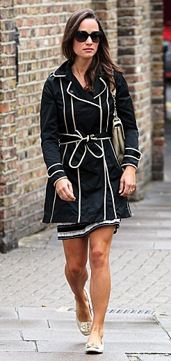 Pippa Middleton in a gorgeous trench with white piping.